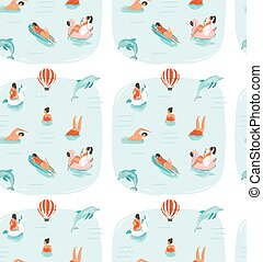 Hand drawn vector abstract summer time fun seamless pattern with swimming happy people in sea water with jumping dolphins isolated on blue background