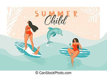 Hand drawn vector abstract summer time funny illustration poster with surfer girls in red bikini with dog on blue ocean waves texture and modern calligraphy quote Summer Child