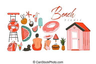 Hand drawn vector abstract Summer time illustrations...