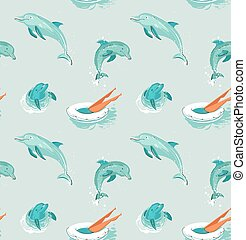 Hand drawn vector abstract vintage cartoon summer time fun seamless pattern of swimming girl in swimming float circle and jumping dolphins isolated on blue water background