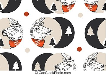 Hand drawn vector abstract vintage Christmas seamless pattern with graphic reindeers in red scarf and Christmas trees in dots shape .Winter holidays pattern concept.Polka dots texture.Wrapping paper
