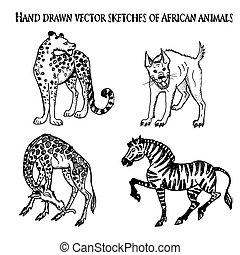 Hand drawn vector animals