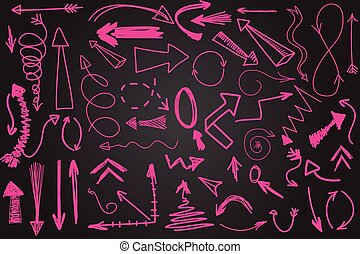 Hand drawn vector arrow collection. Bright pink scetched...