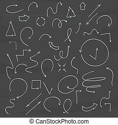 Hand drawn vector arrow collection.