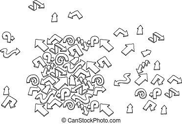 Hand drawn vector arrow set