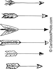 Hand-drawn vector arrows with feathers