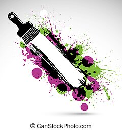 Hand-drawn vector art background created with brushstrokes and colorful ink blobs. Renovation idea illustration with a painting brush can be used as wallpaper. There is copy space for your text.