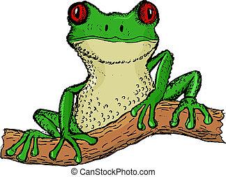 tree frog - hand drawn, vector, cartoon illustration of tree...