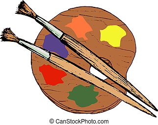 artistic palette - hand drawn, vector, cartoon image of...