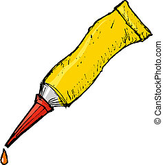 hand drawn, vector, cartoon image of tube with glue