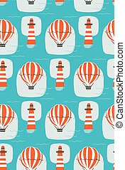 Hand drawn vector cartoon seamless pattern with lighthouse,hot air balloon and sea waves isolated on blue background