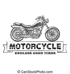 Hand drawn vector chopper motorcycle quote