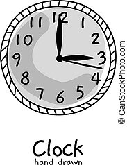 hand drawn vector clock on white background