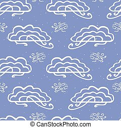 Hand drawn vector cloud illustration. Seamless repeating ...