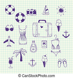 Hand drawn vector collection on a theme travel