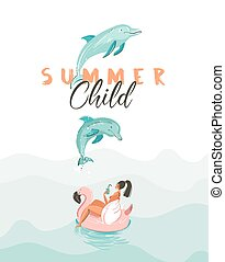 Hand drawn vector creative cartoon summer time poster with jumping dolphins,girl on pink flamingo float circle and modern typography quote Summer Child isolated on white background.