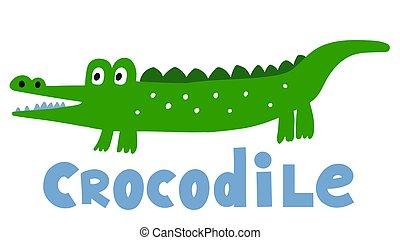 Hand drawn vector crocodile. Cute cartoon baby illustration