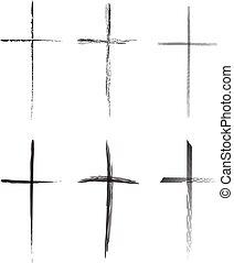 Hand-drawn vector crosses set - Hand-drawn black crosses ...