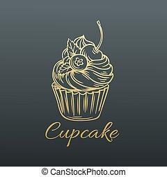 Hand drawn Vector Cupcake