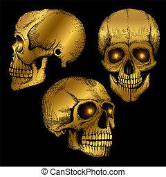 Hand drawn vector death scary human golden skulls on black background