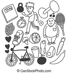 Hand drawn vector diet or healthy lifestyle