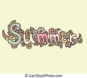 "Hand drawn vector doodle label. ""SUMMER"""
