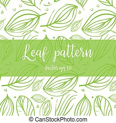 Hand drawn vector doodle pattern with leaves