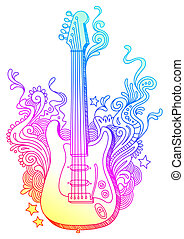 Hand drawn vector electro guitar