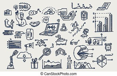 Hand drawn vector elements, symbols. Business doodles.