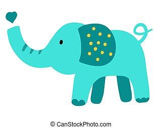 Hand drawn vector elephant. Cute cartoon baby illustration