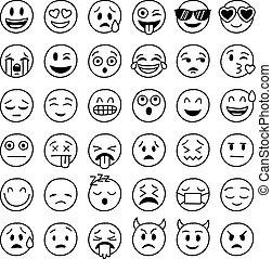 hand drawn vector emoticons