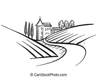 Hand-drawn vector farmland sketch
