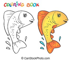Hand drawn vector fish in black and white. Coloring book