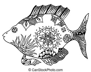 fish with floral elements - Hand drawn vector fish with...