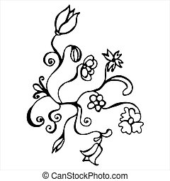 Hand drawn vector flower with curls