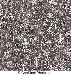 Hand drawn vector forest doodle pattern with branches, leaves, flowers, berries.