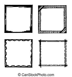 Hand drawn vector frames collection