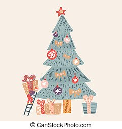 Hand drawn vector fun Merry Christmas time cartoon illustration card with smal elf who decorats Christmas tree and surprise gift boxes isolated on biege background. Santa helper in doodle style.