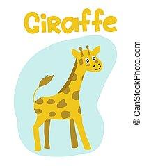 Hand drawn vector giraffe. Cute cartoon baby illustration