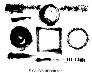 Hand drawn vector grunge elements. Ink circle, stains, blots, strokes, streaks.