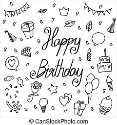 Hand drawn vector happy birthday