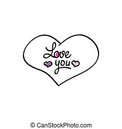 Hand-drawn vector heart love you icon