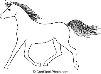 Hand drawn vector horse - sign of year 2014