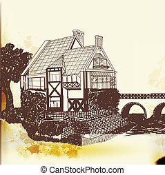 Hand drawn vector house in vintage