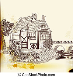 Hand drawn vector house in vintage style