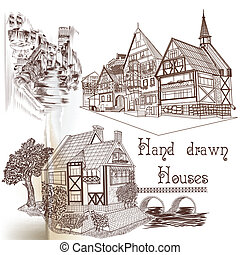 Hand drawn vector houses