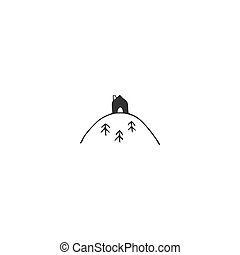 Hand drawn vector icon, a house on the top of the mountain. Property rental theme.