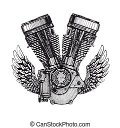 Hand drawn vector icon of engine