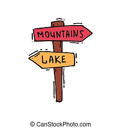 Hand drawn vector icon of wooden arrow sign post, mountains to the right, lake to the left. Outdoor adventure