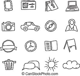 Hand-drawn vector icons set